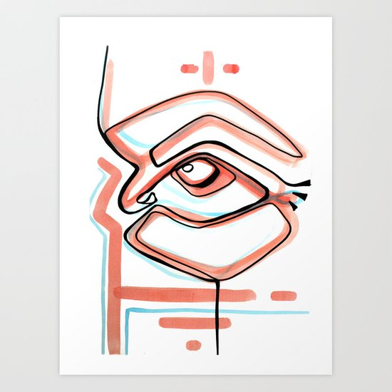 Abstract Open Eye Line Drawing With Red And Blue Art Print
