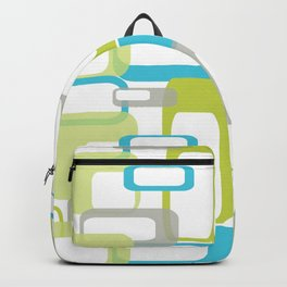Mid-Century Modern Rectangle Design Blue Green and Gray Backpack