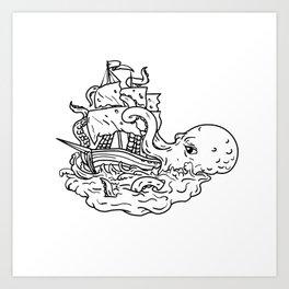 Kraken Attacking Sailing Ship Doodle Art Art Print
