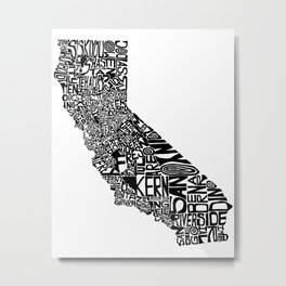 Typographic California Metal Print
