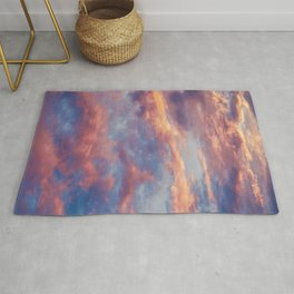Pink Blue Sky Clouds Rug