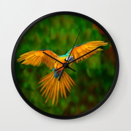 Flying Golden Blue Macaw Parrot Green  Art Wall Clock