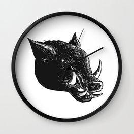 Razorback Wild Boar Scratchboard Wall Clock