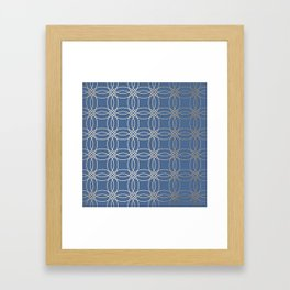 Simply Vintage Link in White Gold Sands and Aegean Blue Framed Art Print