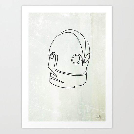 One line Iron Giant Art Print