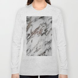 Classic White Marble Silver Glitter Glam #1 (Faux Glitter) #marble #decor #art #society6 Long Sleeve T-shirt