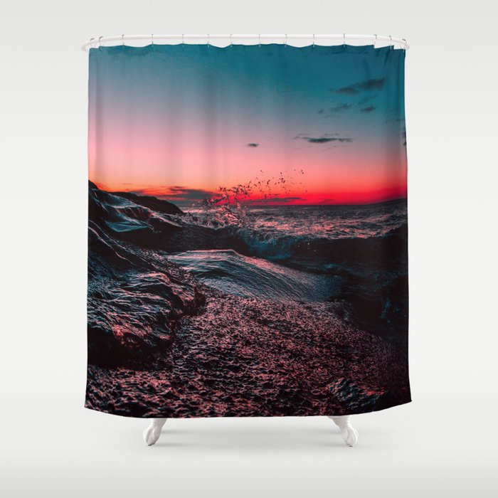 Pink Ocean From Sunset Shower Curtain