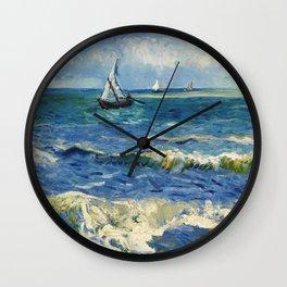 Seascape near Les Saintes-Maries-de-la-Mer by Vincent van Gogh Wall Clock