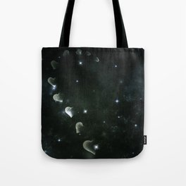 Cosmos Half Hart of Harts in Black & White Tote Bag