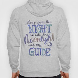 Watercolor Moonlight Lettering Hoody