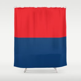 Half-and-Half in Red and Navy Shower Curtain
