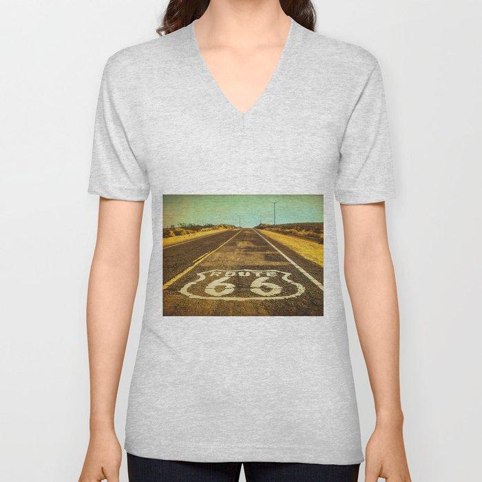 Route 66 Road Marker Unisex V-Neck