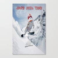 snowboarding Canvas Prints featuring Snowboarding by Dymond Speers