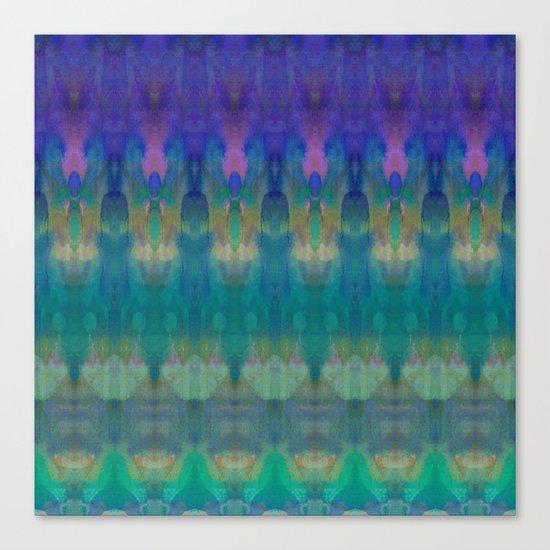 Tribal Diamonds Watercolour Blue Canvas Print