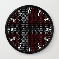 denmark Wall Clocks featuring digital Flag (Denmark) by seb mcnulty