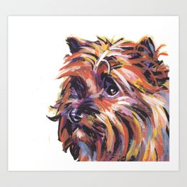 Fun Red Cairn Terrier Dog Portrait bright colorful Pop Art by LEA Art Print
