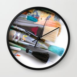 Painter's Palette With Paintbrushes  Wall Clock