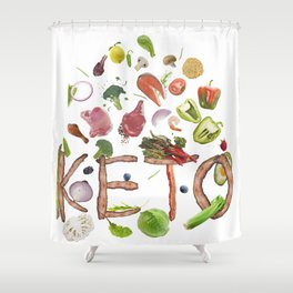 Ketogenic or keto diet  letters from bacon and food ingredients  isolated on white background Shower Curtain