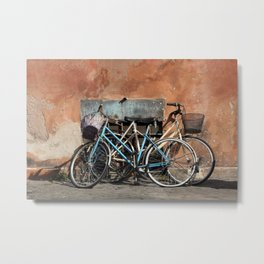 Two Vintage Bicycles Against a Wall, Trastevere, Rome, Italy Metal Print