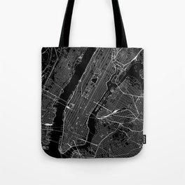 New York City Black Map Tote Bag