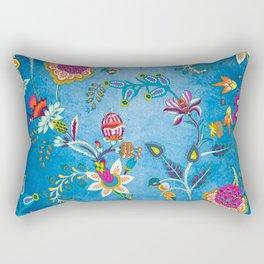 Blue Lapis Velvet Texture Chintz Multicolour Bohemian Floral Pattern Rectangular Pillow