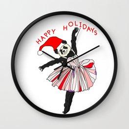 Happy Holidays Secret Santa Panda Ballerina Wall Clock