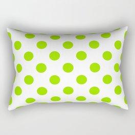 Lime Green Polka Dots Rectangular Pillow