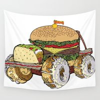 junk food Wall Tapestries featuring junk food car by immiggyboi90