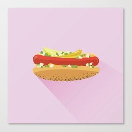 Flat Vector Chicago Dog Canvas Print