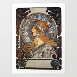 Alphonse Mucha - The Zodiac, a cover for La Plume Magazine (1897) Art Print