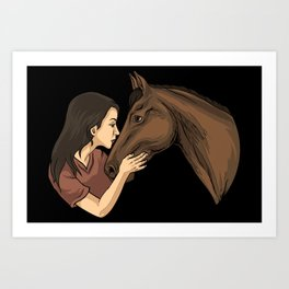 Girl Kissing A Horse Art Print