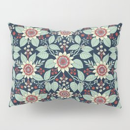 Red, Turquoise, Cream & Navy Blue Floral Pattern Pillow Sham
