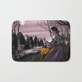 Runaway bride under the moon Bath Mat