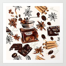 Coffee watercolor pattern with grains coffee mill and chocolate Art Print