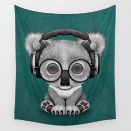 Cute Baby Koala Bear Dj Wearing Headphones on Blue Wall Tapestry