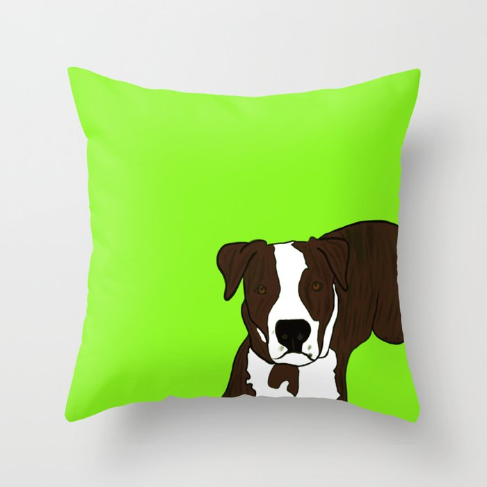 Chico the Brindled Pit Bull Throw Pillow