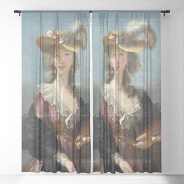 Louise Élisabeth Vigée Le Brun - Self Portrait in a Straw Hat Sheer Curtain