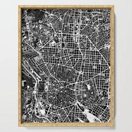 Madrid city map black&white Serving Tray