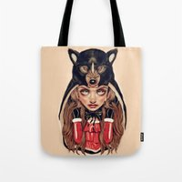red hood Tote Bags featuring Red Riding Hood by Giulio Rossi