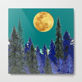BLUE FOREST TEAL SKY MOON LANDSCAPE ART Metal Print