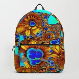 BLUE & GOLD ART DECO BUTTERFLIES & FLOWERS VIGNETTE Backpack