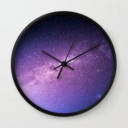 Purple Glitter Galaxy Wall Clock