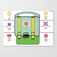 backpack Canvas Prints featuring Backpack - Flower Power by Drape Studio