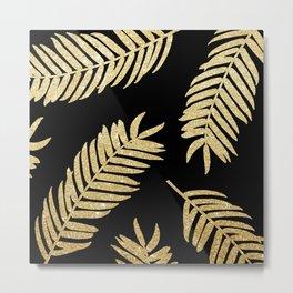 Gold Glitter Palms  |  Black Background Metal Print