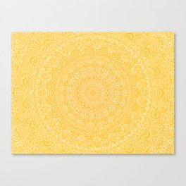 The Most Detailed Intricate Mandala (Mustard Yellow) Maze Zentangle Hand Drawn Popular Trending Canvas Print