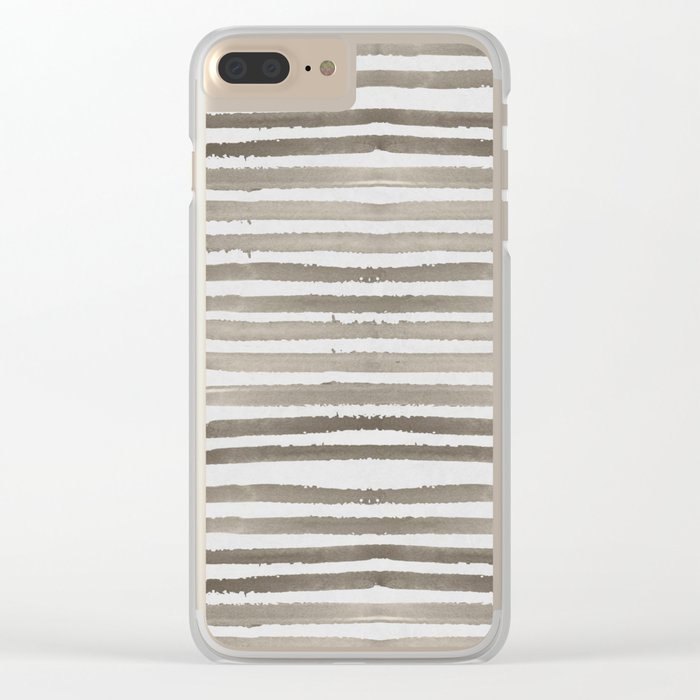Simply Shibori Stripes Earth Brown on Lunar Gray Clear iPhone Case
