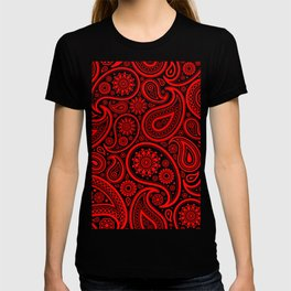 Red and white vintage paisley pattern T-shirt