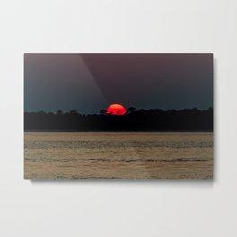 Edisto Island Fiery Sunset Metal Print