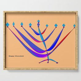 A Chanukah Greeting with Menorah Serving Tray