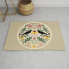 Crows, Wild Roses, Thistles And Sunflowers Rug